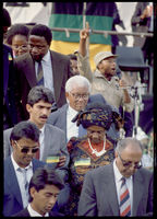 Sisulu and wife on his release from prison, Soweto, 1989