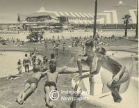 A crowded Muizenberg Pavilion, Cape Town