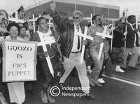 """""""Gqozo is FW's puppet"""" placard, Cape Town"""