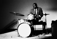 Early Mabuza, veteran drummer, recording with the Castle Lager Big Band, Johannesburg, South Africa