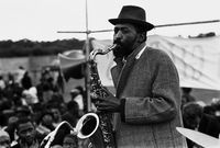 Christopher 'Columbus' Ngcukana playing the saxophone live, Cape Town, South Africa