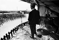Basil Coetzee and Abdullah Ibrahim surveying an empty venue during a soundcheck, Cape Town, South Africa