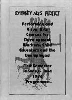 Performing and visual arts courses for development workers, child educators and the unemployed : first semester January - June 1996 programme