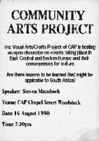 Flyer for an open discussion on art hosted by the Community Arts Project.