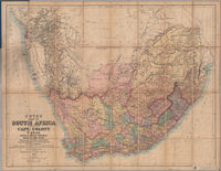 Juta's map of South Africa containing Cape Colony, Natal, South African Republic, Orange Free State, Griqualand, Kaffraria, Basutoland, Zululand, Damaraland, Betshuanaland and other territories