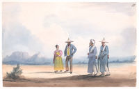 Malay and Malay Priests - Cape flats - Table Mountain in the distance